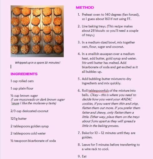 ANZAC recipe