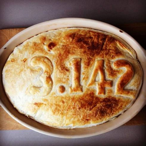 Last night – as a last hurrah to pie weather (and the need to use up the leftovers from a roast chook) a final pie was baked. With a little maths-nerd humour thrown in for fun.