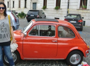 Four years ago in Rome, I made Aaron take a photo of me with just about every old Fiat Cinquecento we saw. There are a lot of photos of me with tiny cars!